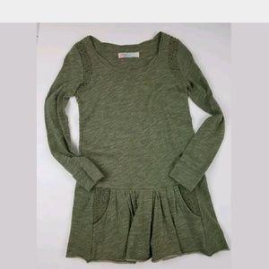 Free People Beach Dress XS Sweatshirt Tunic Green